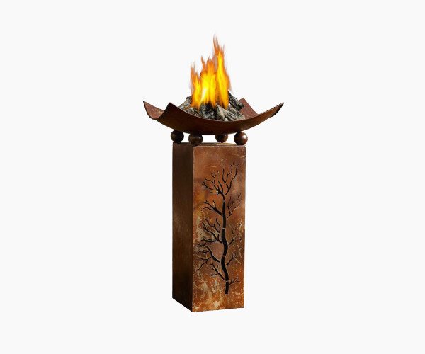 PSW Garden Decor Decorative Rustic Metal Fire Pillar with Removable Bowl