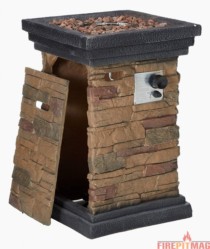 Peaktop Slate Rock Square Column Gas Propane Fire Pit