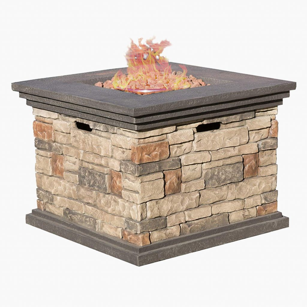 Crawford Outdoor Square Propane Fire Pit by Great Deal Furniture