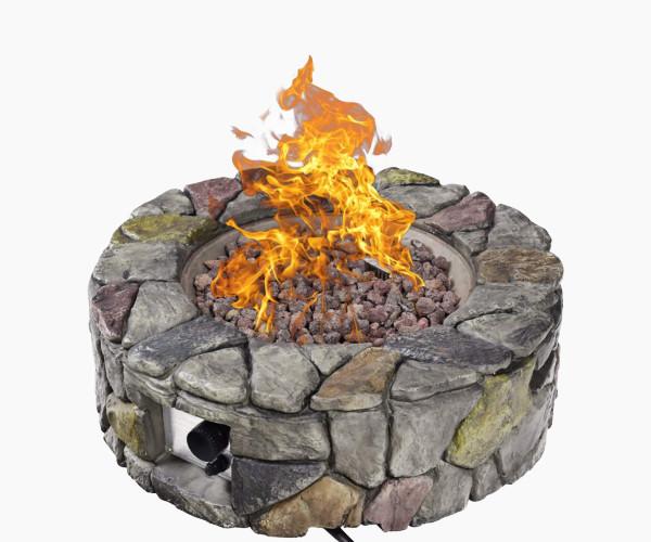 Giantex Natural Stone Rocks Gas Fire Pit