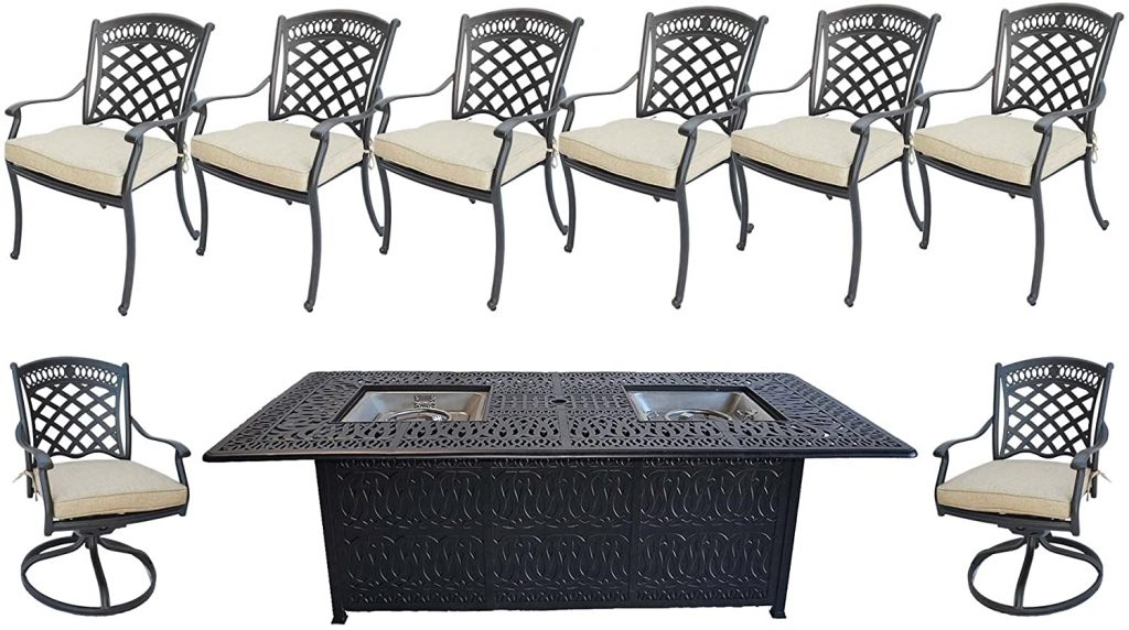 Sunvuepatio Cast Aluminum Patio Furniture Elisabeth 9 Piece Patio Dining Double Burner Propane Table.