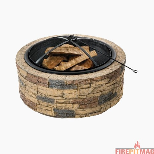 Sun Joe SJFP35-STN Cast Stone Base, Wood Burning Fire Pit