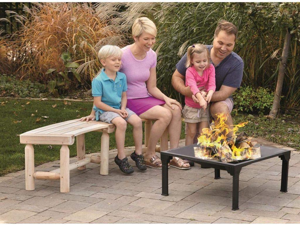 11. CASTLECREEK Log Fire Pit Bench