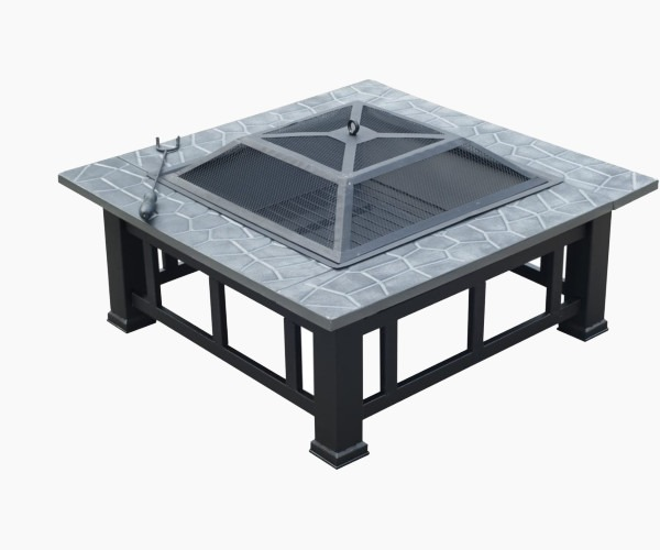 "Outsunny Square 32"" Outdoor Backyard Patio Metal Firepit"