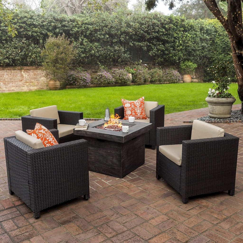 GDF Studio Venice Patio Furniture 5 Piece Outdoor Wicker Patio Chair Set with Propane Fire (Table) Pit