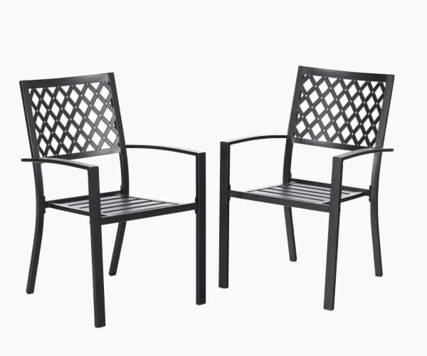 PHI VILLA 300lbs Wrought Iron Outdoor Patio Bistro Chairs