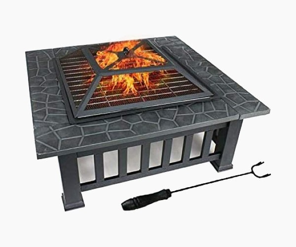 "ZENY 32"" Outdoor Fire Pit Square Metal Firepit"