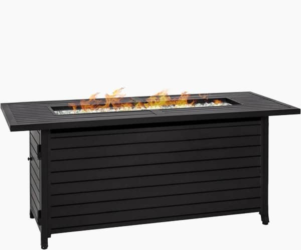 Best Choice Products 57in Rectangular Extruded Aluminum Gas Fire Pit Table