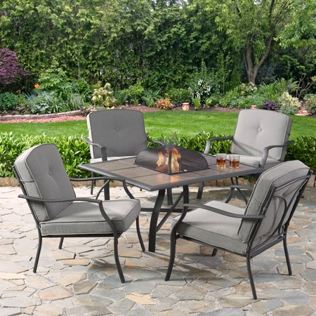 Mainstays Holten Ridge 5-Piece Tile-Top Fire Pit Chat Set with Gray Cushions