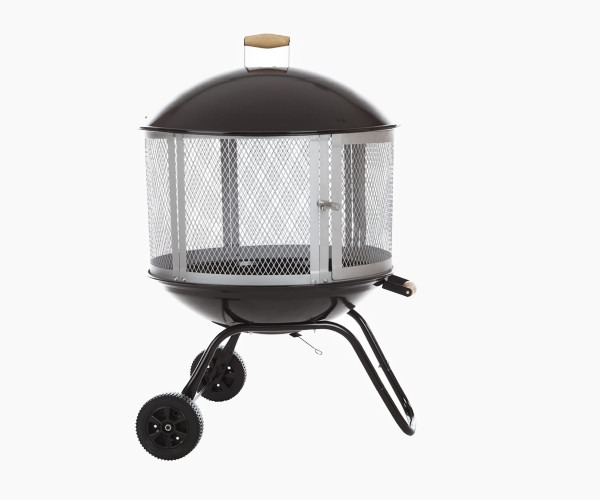 "Bessemer 01471 28"" Patio Fireplace, Black and Silver"