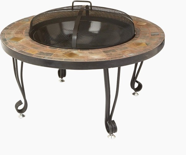 AmazonBasics 34-Inch Natural Stone Fire Pit with Copper Accents