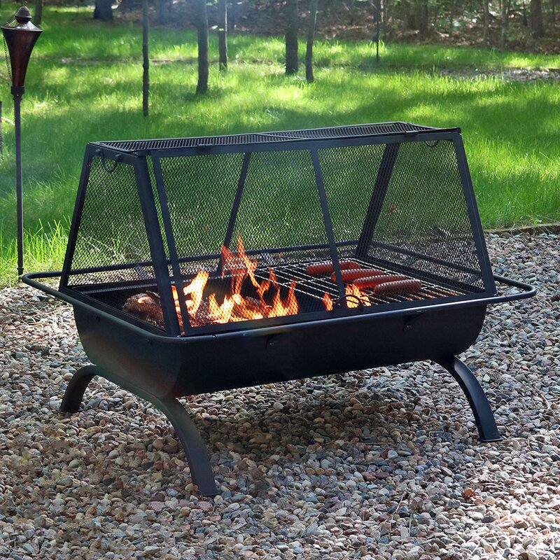 Pleasant Hearth Hudson Steel Wood Burning Fire Pit