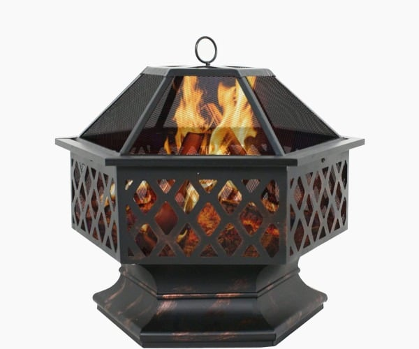 "F2C Outdoor Heavy Steel Hex Shape 24"" Fire Pit"