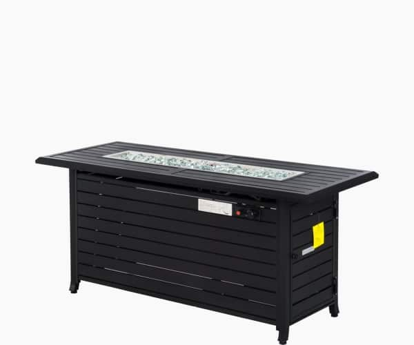 """Outsunny 57"""" Black Bronzed Aluminum Rectangular Patio Gas Fire Pit with Table Lid"""