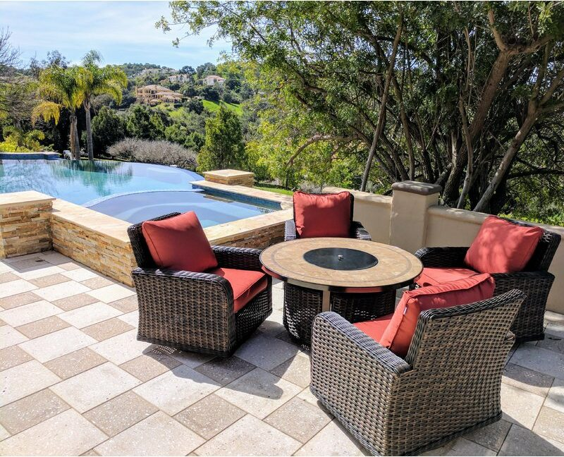 Duncombe 5 Piece Sunbrella Dining Set with Cushions and Fire pit by Darby Home Co