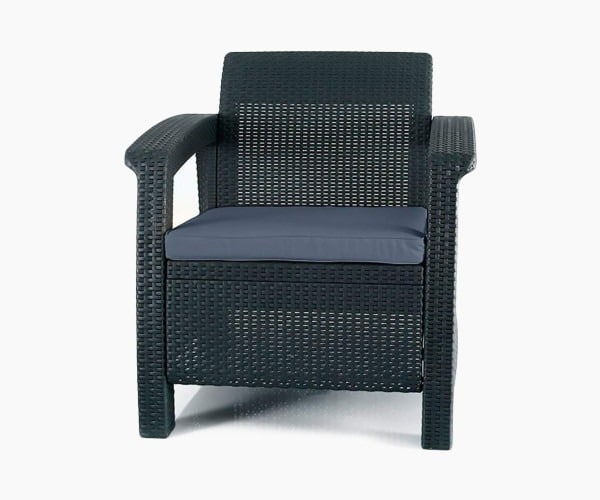 Keter Corfu Armchair All Weather Outdoor Patio Garden Furniture with Cushions