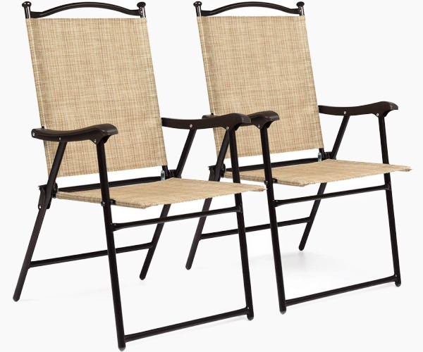 Best Choice Products Set of 2 Outdoor Mesh Fabric Portable Folding Sling Back Chairs