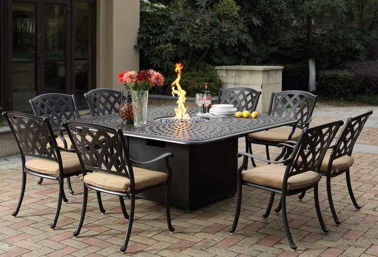 Campton 9 Piece Dining Set with Fire pit and Cushion by Fleur De Lis Living